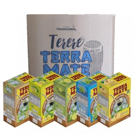 Terere Terra Mate - caixa 20x500 gr - Sortido (4 Natural, 4 abacaxi, 4 lima-limão, 4 Limão e 4 Menta)