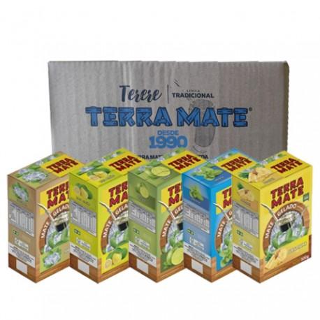 Terere Terra Mate - caixa 10x500 gr - Sortido (2 Natural, 2 abacaxi, 2 lima-limão, 2 Limão e 2 Menta)